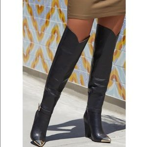 Pointed Toe Over the Knee Heeled Boots Dorothy NEW